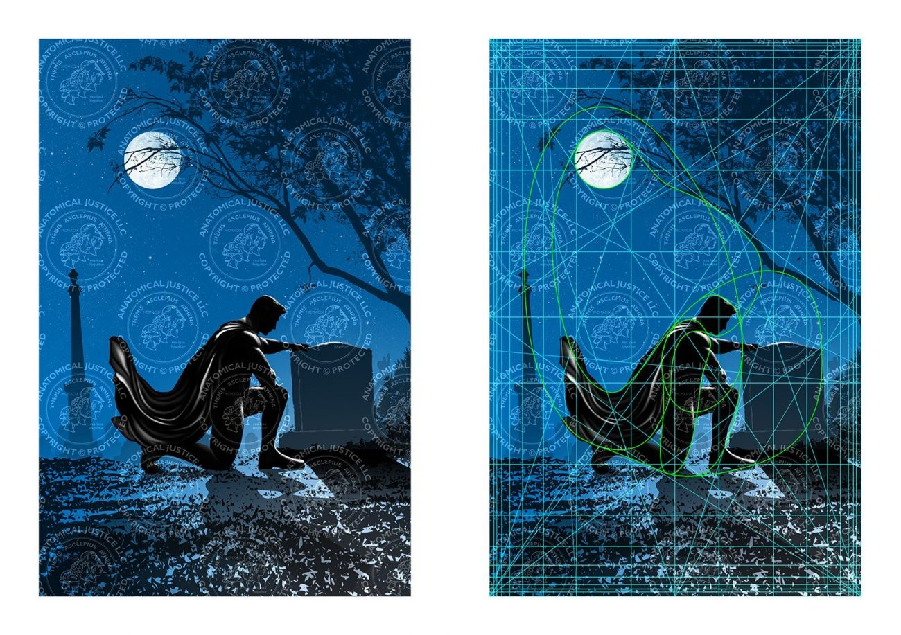 """The golden ratio is used to create the book cover for """"Superhero Grief: the Transformative Power of Los"""""""